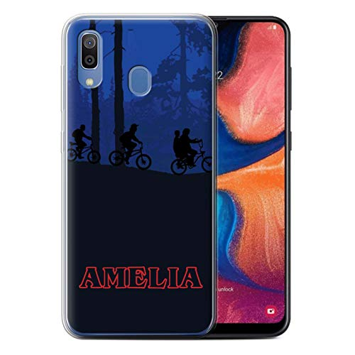 Personalized Custom Strange Retro Gel/TPU Case for Samsung Galaxy A20/A30 2019 / Forest Bike Ride Design/Initial/Name/Text DIY Cover
