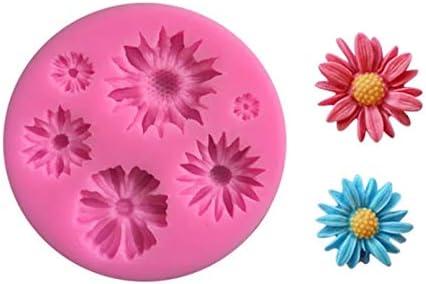 Diy 3D Daisy Rose Siliconen Mal Bloem Ronde Fondant Schimmel Keuken Taart Decoreren Gereedschappen Keuken Cake Bakken Chocolade Schimmel