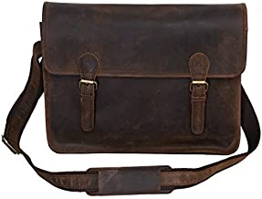 KomalC Leather Briefcase 15 Inch Retro Buffalo Hunter Leather Laptop Messenger Bag Office Briefcase College Bag Fits Upto 15.6 Inch Laptop (Distressed Tan Plain)