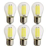 E27 Vendimia LED Edison Filamento Pelota de Bulbo G45 6 Watt Vidrio bombillas 6000K blanco frío 6-pack