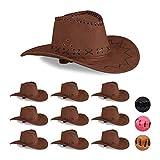 Relaxdays Set 10 Cappelli da Cowboy/Cowgirl per Feste di Carnevale, Stile Western, per Adulti, Uomo o Donna, Marrone Scuro