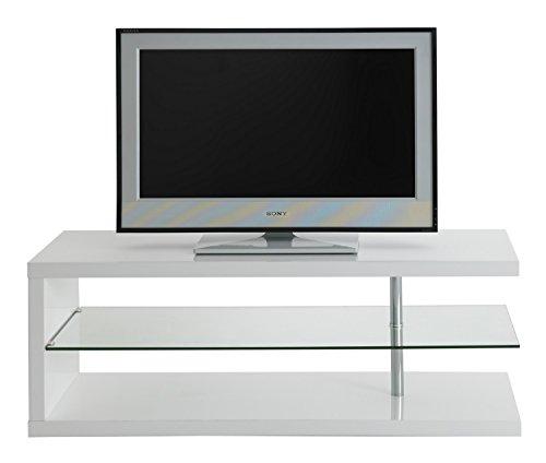 Alpisedia Thin tv-meubel, MDF/glas, wit, 120 x 40 x 45 cm