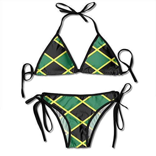 Damen Bikini Set Jamaikanische Flagge Karibik Insel Sommer Zweiteiliger Badeanzug mit Bandage Halfter Badeanzüge