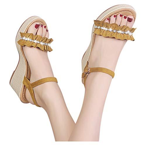 Great Deal! kaifongfu Wedge Sandals Summer Women Open Toe Platform Shoes Rhinestones Buckle Strap We...