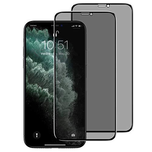 BENKS [2 Stück Schutzfolie für iPhone 11 Pro Max, iPhone XS Max Privacy Anti Spion Dunkel Folie Vollständige 9H Sichtschutzfolie Displayschutzfolie für iPhone XS Max/11 Pro Max - 6,5 Zoll