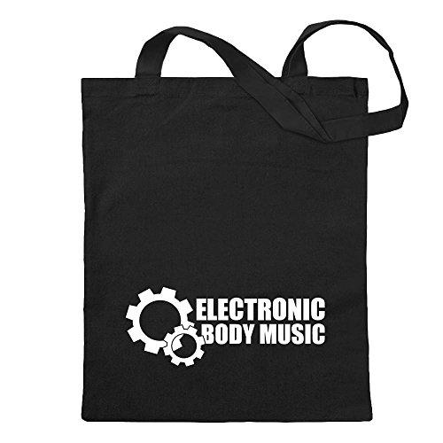 Kiwistar Elektronic Body Music - EBM Tragetasche Baumwolltasche Stoffbeutel Umhängetasche Langer Henkel