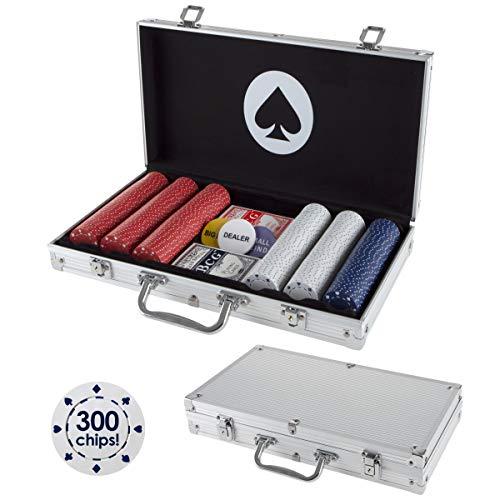 Trademark Poker Card Suits Poker Chip Set- 300 Pieces of 11.5-Gram Composite Gambling Chips-Aluminum Case, 2 Decks of Cards, Dealer & Blind Buttons