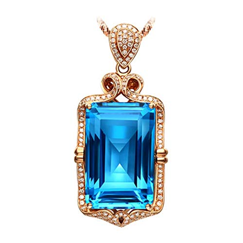 Aokarry 18K Rose Gold Pendant Necklaces for Women Rectangle Necklace with Topaz 39.95ct Rose Gold