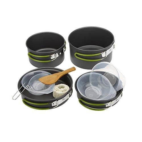 Batterie de cuisine de camp 2-3 personne pique-nique en plein air batterie de cuisine portable en aluminium camping sac à dos pour la cuisine casserole kit de mess 2 casseroles 2 casseroles spatule bo