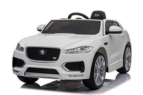 Mondial Toys Auto Macchina ELETTRICA Jaguar F-Pace SUV per Bambini 12V con Sedile in Pelle Cintura di Sicurezza A 5 Punti Telecomando Bianca