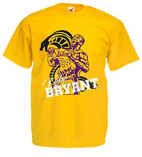 vestipassioni t-Shirt Kobe Bryant Basket Supporter Sport Legend (L, Giallo)