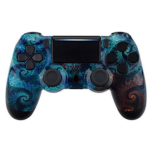 eXtremeRate Schale für PS4 Controller,Case Gehäuse Glänzende Hülle Ersatzteile Set für Playstation 4 PS4 Controller JDM-040 JDM-050 JDM-055(Spirale Gemustert)