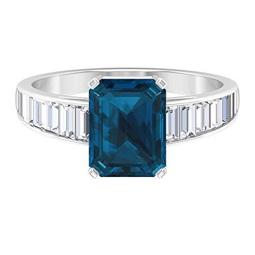 Anillo solitario de topacio azul Londres 2,45 quilates, anillo de zafiro blanco baguette 1,94 quilates, 14K Oro blanco, Topacio azul londinense, Size:EU 65
