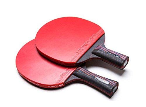 HUIESON de profesión Tipo de Ataque Raqueta de Tenis de Mesa Rey de Carbono Entrenamiento o Competencia Tabla Bate de Tenis Ping Pong Paddle (Corto+Largo)