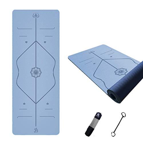 ZBK Esterilla de yoga de 8 mm de grosor TPE de dos colores antideslizante, línea de postura, esterilla de yoga, esterilla de fitness, 183 x 61 x 0,8 cm, 4 colores