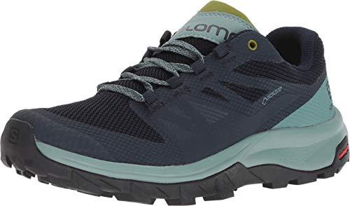 Salomon OUTLINE WIDE GTX W Scarpe con Tecnologia GORE-TEX per Camminate ed Escursionismo, Donna, Trellis/Navy Blazer/Guacamole, 36 2/3 EU