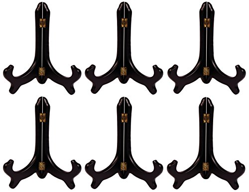 Creative Hobbies Deluxe Black Wood Display Stand Plate Holder Easels, 8 Inch Tall, Wholesale Box of 6 Stands