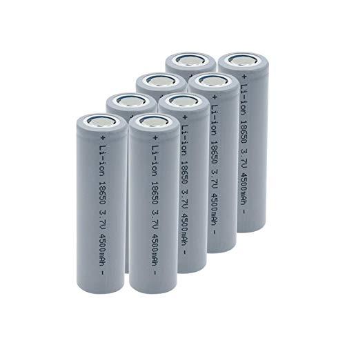 TTCPUYSA Batería De ión De Litio De 3.7v 4500mah 18650, Recargable para El Banco del Poder del MicróFono del Faro De La Linterna 8pcs