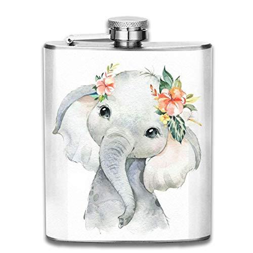 Flachmann für Likör, Boho Elefant, langlebiger Edelstahl-Flachmann mit U-förmigem Körper, 200 ml, rostfrei, auslaufsicher, für Reisen, Angeln, Picknick