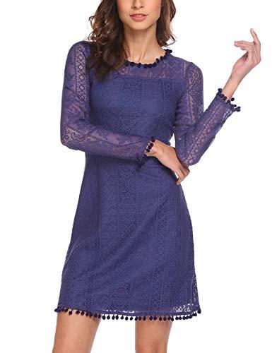 Meaneor Damen Elegent Spitzenkleid mit Ball Langarm Partykleid Sexy Cocktailkleider Böhmen Minikleid Frauen Beilaeufiges Herbst Winterkleid Blau Lila