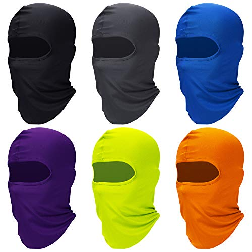 6 Pieces Face Balaclava Cover Ice Silk UV Protection Full Face Cover for Women and Men Outdoor Sports (Black, Dark Grey, Royal Blue, Purple, Orange, Fluorescent Green)