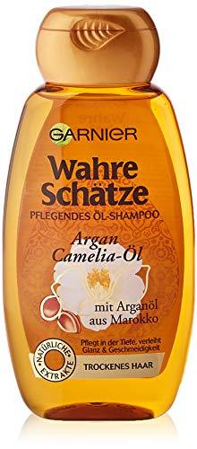 GARNIER Wahre Schätze Shampoo / Intensive Haarpflege bis in die Spitzen / Mehr Glanz und Geschmeidigkeit (mit Argan-Öl & Camelia-Öl - für trockenes Haar - ohne Parabene) 1 x 250ml