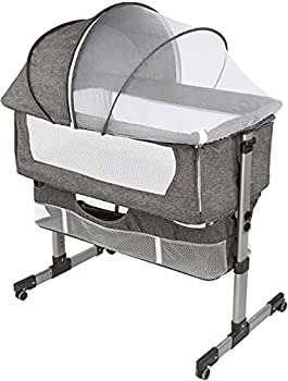 Bedside Sleeper Bedside Crib Baby Bassinet 3 in 1 Travel Baby Crib Baby Bed with Breathable Net Adjustable Portable Bed for Infant/Baby deep Grey