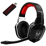 Wireless Gaming Headset Headphones for PS5 PS4 PC Computer Nintendo Switch - HUHD USB Gaming Headsets with Removable Microphone Ultra-Low Latency Virtual 7.1 Surround Sound Over Ear Soft Earmuffs
