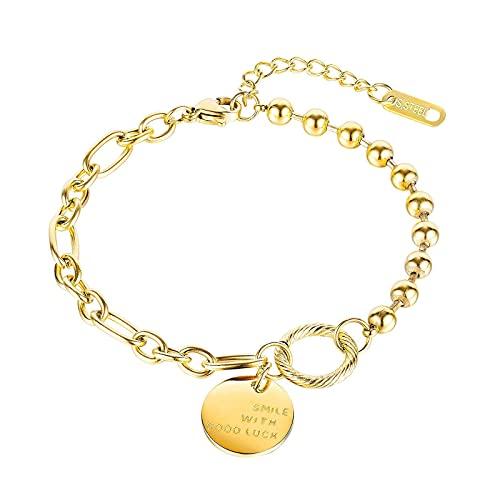 1 pieza pulseras para mujer Lucky Jewelry Chain Ball Titanio acero delicado hecho a mano dorado