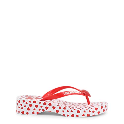 Love Moschino Heart Sole Flip-Flop Sandale, Rot (rot), 37 EU