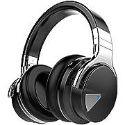 COWIN E7 ANC ノイズキャンセリング ワイヤレス Bluetooth ヘッドホン 密閉型 高音質 マイク付き 30時間再生 NFC搭載 ケーブル着脱式 iphone x PC Mac などに対応 ブルートゥース ステレオヘッドフォン (赤)