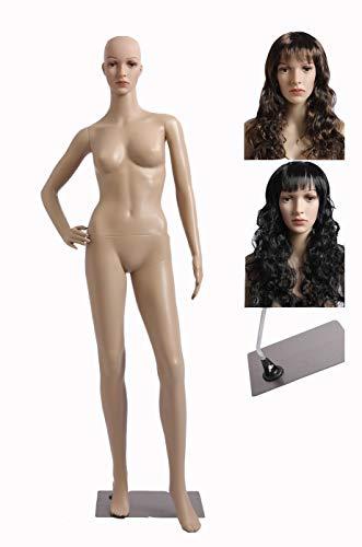 Eurotondisplay Mannequin de vitrine féminin avec 2 perruques gratuites, plaque métallique SF-9 Mannequin Female