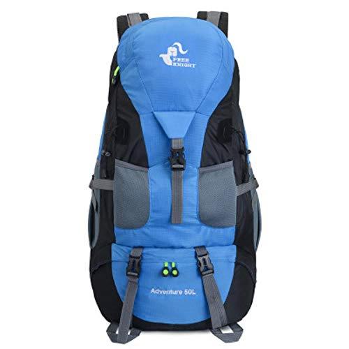 Huien 50L outdoor waterdichte rugzak heren trekking reizen rugzakken vrouwen sporttas klimmen bergbeklimmen tassen wandelrugzak, hemelsblauw, 50-70L