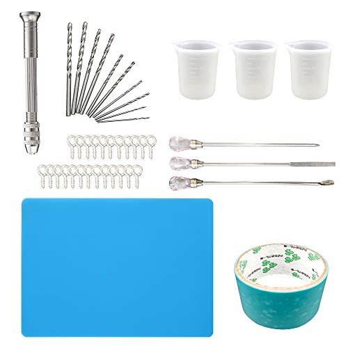 39 Pcs Resin Jewelry Silicone Molds Casting Tool Kit Includes Hand Drill, Measuring Cup, Silicone Sheet, Stir Sticks, Silver Screw Ear Pin, Jewelry Mold Special Tape