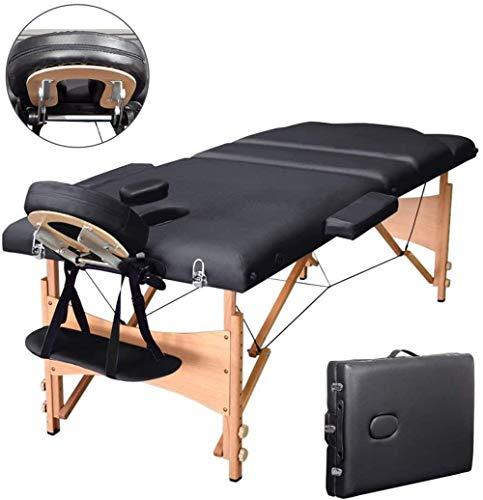 Vesgantti Table de Massage Portable en Bois Table Thérapie Pliante Lit de Massage Professionnel avec Housse de Transport, 3 Zones - Noir