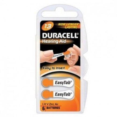 10 pachi di 6 Duracell 13 Hearing Aid Easy Tab - Batterie per Protesi Acustiche