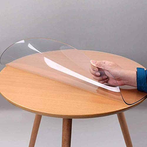 Round PVC Clear Table Cover Protector for Dining Glass Table, Non-Slip Waterproof Wipeable PVC Desk Cover, Office Desk Top Coffee End Table Pad Mat