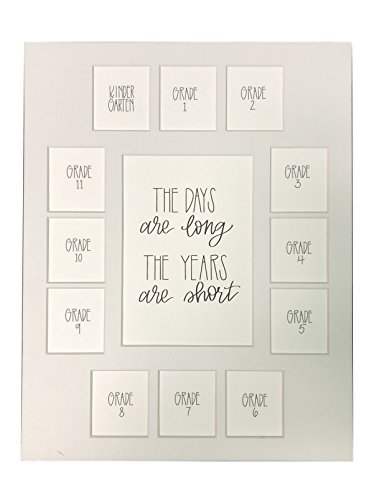All Things For Mom School Days Picture Mat with Multiple Openings – School Years Photo Collage – The Days are Long Picture Mat – Kindergarten to 12th Grade Graduation (13 Photos, K-12th, White)