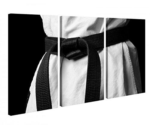 Leinwandbild 3 Tlg. Sport Karate schwarzer Gürtel schwarz weiß Leinwand Bild Bilder Holz fertig gerahmt 9R838, 3 tlg BxH:90x60cm (3Stk 30x 60cm)