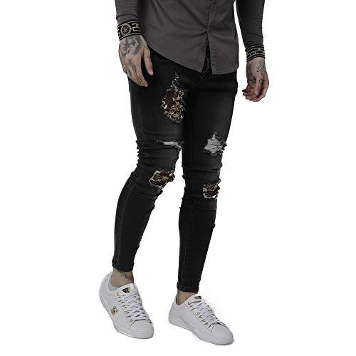 Siksilk jeans met lage schot en versleten zwart