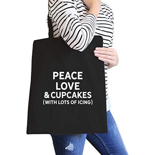 Peace Love & cupcakes Simple Funny trendy grafico stampato borsa di tela naturale nero