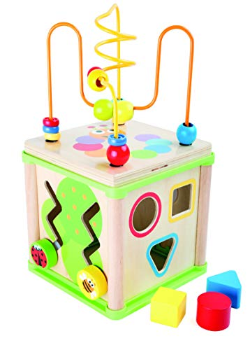 Small Foot Wooden Toys Activity Cube 5-Sided, Sweet Little Bugs Toy Designed for Motor Skills Training Toddlers Aged 12+ Months