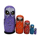 HEALLILY Eule Nesting Dolls aus Holz Matroschka russische Nesting Toy 5 Schichten Stapeln Puppen...