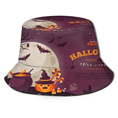 PUIO Sombrero de Pesca,Vector de caldero de Calabaza Naranja de Banner de Halloween,Senderismo para Hombres y Mujeres al Aire Libre Sombrero de Cubo Sombrero para el Sol