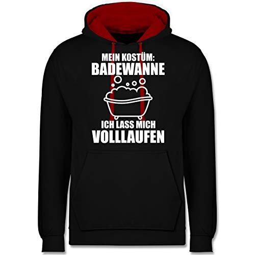Shirtracer Karneval & Fasching - Mein Kostüm: Badewanne ich Lasse Mich volllaufen - weiß - 4XL - Schwarz/Rot - Geschenk - JH003 - Hoodie zweifarbig und Kapuzenpullover für Herren und Damen
