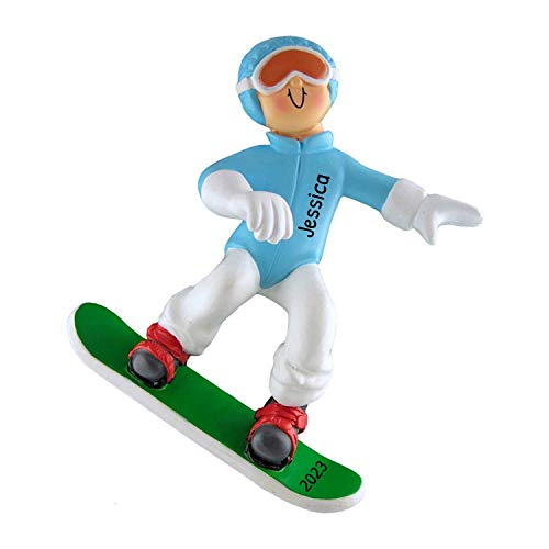 Personalized Snowboard Christmas Tree Ornament 2020 - Athlete Woman Ski Blue Grey Outfit Goggles Downhill Active Winter Game Girl School Teacher Hobby Boy Utah - Free Customization (Female)