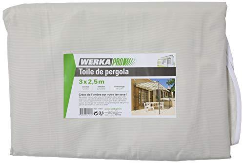 WERKA PRO - 11161 - Toile de rechange - Pour pergola - Crème - 3x2.5m - En polyester 180gm²