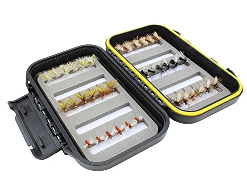Wild Water Fly Fishing Dry Fly Assortment, 36 Flies with Small Fly Box