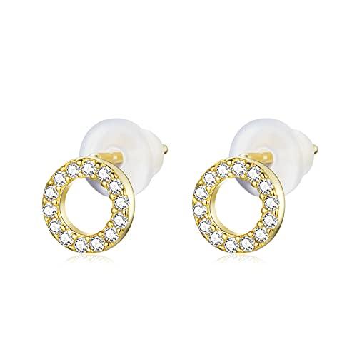 HMMJ Pendientes de botón para Mujer, hipoalergénicos S925, Plateado Brillante, Chapado en Oro Real, Tapones para los oídos geométricos de Silicona, Piercings, joyería (Color : Circle)