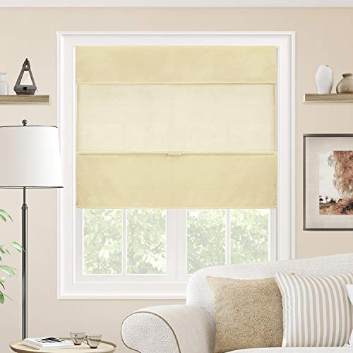 CHICOLOGY Cordless Magnetic Roman Shades Privacy Fabric Window Blind, 36' W X 64' H, Daily Canvas (Light Filtering)